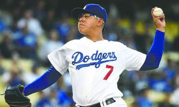 Dodgers ganan con jonrón de Thompson, Urías debuta en casa