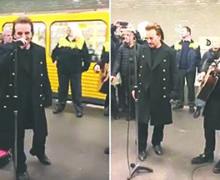 U2 sorprende con concierto en el Metro de Berlín